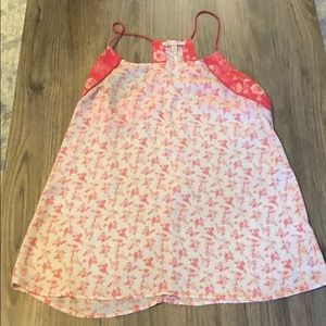 Tops - Pink/White Floral Tank Top
